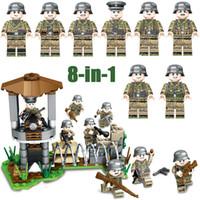 brinquedo militar venda por atacado-WW2 Segunda Guerra Mundial do Exército Alemão Batalha Frente de Ferro Militar Building Block Brick Soldiers Figura de Montagem de Brinquedo