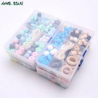 kit de jóias diy venda por atacado-Mhs.sun Hot silicone contas set Baby Teething Beads Food Grade Teether Kits DIY acessórios mastigável Jóias Chupeta Cadeia J190620