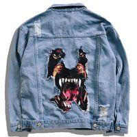 jeansjackenentwurf für männer großhandel-Kreative Hund 3d Patch Design Jacken Männer Casual Denim Jean 2019 Frühlingsmode Windjacke Mäntel Harajuku Streetwear