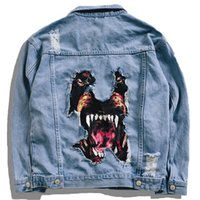 diseño de chaqueta de jeans para hombres al por mayor-Perro creativo Parche 3d Chaquetas de diseño Hombres Casual Denim Jean 2019 Moda de primavera Chubasqueros Abrigos Harajuku Streetwear