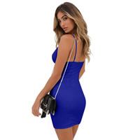 modèle de cou arrière achat en gros de-Modèles d'explosion Summer sexy robe décolletée fendue sur le côté avec col en V et jupe robe de soirée bustier ajourée discothèque