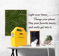 carregador usb lâmpadas venda por atacado-Kit de Iluminação do Painel Solar Solar Home DC Sistema de Carregador USB Com 2 DIODO EMISSOR de Luz Lâmpada como Luz de Emergência 4 Telefone Carregador de Banco de Potência