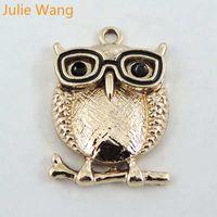 ingrosso fascino di occhiali da gufo-Julie Wang 5PCS Gold Owl Charms Birds Occhiali in lega di animali per la collana pendente gioielli braccialetto rendendo accessorio