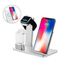 ipad iphone docking station ladegerät großhandel-Ladestation Drahtlose Schnellladestation 3 in 1 Aluminium-Ladestationen für iPhone X Ipad AirPods Iwatch-Serie und Samsung