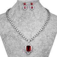 conjuntos de joyas de novia zirconia al por mayor-HONGHONG Cubic zirconia 3 Unids Conjunto de aretes de collar de mujer Conjuntos de joyería nupcial 3 colores Ladylike Zircon Chic Jewelries