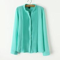 seide krepp t-shirt groihandel-Tuch 2019 Frühling-Frauen Crepe de Chine Seide Collor Shirts dünne lange Hülsen-Spitze-verstärkendes T-Shirt OL Silk Shirts Luxus Shirts