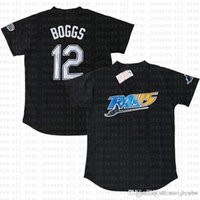 körfezi tabanı toptan satış-Tampa Bay Beyzbol Forması Işınları 12 Wade Boggs 3 Evan Longoria 39 evin Kiermaier Serin Baz Formalar ücretsiz kargo
