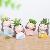 ingrosso piante da giardino a colori-Wreath Girl Desktop Exquisite Resina Vaso di fiori Ma Caron Color Small Plant Ornament Hotel Office Creative Garden Planters 12 5ltD1