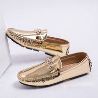 Wholesale mens italian sneakers for sale - Group buy Luxury Italian Brand Casual Shoes Large Size Fashion Mens Summer Loafers Gold Loafers Men PU Men Shoes Sneakers Casual