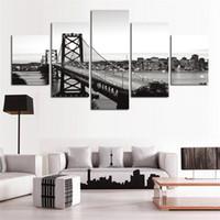 ingrosso scenario bianco nero-City Black White Suspension Bridge Scenery, 5 pezzi HD Canvas Printing Nuova decorazione della casa arte pittura / senza cornice / incorniciato