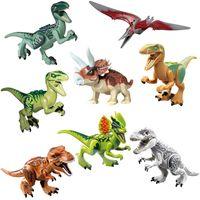 jurassic world dinozor yapı toptan satış-Jurassic Dinozor Seti Yapı Taşı Oyuncak Figürü Indoraptor Velociraptor Triceratop T-Rex Dünya Çocuklar Için Dino Tuğla