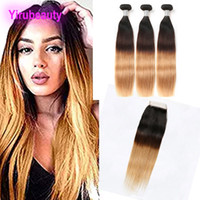 Wholesale ombre hair 1b 27 18 inch resale online - Indian Human Hair Ombre Hair B Straight Silky Bundles With X4 Lace Closure B Natural Color