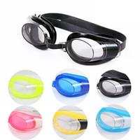 enchufe ajustable al por mayor-Niños Adultos Gafas de natación ajustables Gafas de natación Antivaho Gafas de ocio impermeables con tapones para los oídos Clip de nariz ZZA229