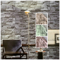 piedra de vinilo al por mayor-Vinilo Pvc Modern Faux Brick Stone 3D Wallpaper Sala de estar Dormitorio Baño Casa Etiqueta de la pared Decoración, 0.45 M * 5 M / rollo con pegamento