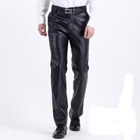 deri pantolon erkek toptan satış-Thoshine Marka Bahar Aumumn Erkek Deri Pantolon Yüksek Bel Moda Akıllı Rahat Erkek PU Suni Deri Pantolon Artı Boyutu Boy