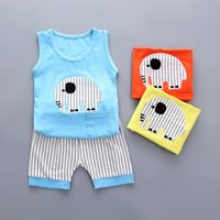 Wholesale kids wholesale clothes stripes for sale - Lovely baby suit vest short pant set outfits cotton sleeveless top pants summer elephant stripes kids clothes