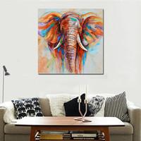 elefanten malerei leinwand großhandel-50 * 50 cm HD Gedruckt Frameless Elefant Kopf Leinwand Malerei Wandkunst Bilder Dekor für Zuhause Wohnzimmer Schlafzimmer