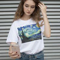 pinturas a óleo venda por atacado-Verão Feminino T-shirt Van Gogh Estrelas Ulzzang Mangas Curtas Moda Casual, Harajuku Grande Tamanho Pinturas A Óleo Impressão T-shirt Top