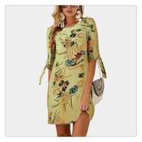 Wholesale dress neck designs for girls for sale - Group buy Exquisite Dress New Designed Women Chiffon Printed Pattern Round Neck Collar Seven Length Sleeve Varies Pattern For Girl Women
