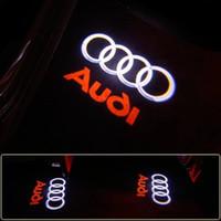 audi logosu led ışıkları toptan satış-AUDI Için 2 Adet / grup Araba Karşılama Işığı Araba Kapı LED DEVRE Hayalet Gölge Işık Audi Logo Projektör Nezaket Işıkları Otomatik Arka