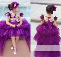 Wholesale kids pink ball gown prom dresses for sale - Group buy Lovely High Low Purple Princess Girls Pageant Dresses Cap Sleeve Gold Appliques Long Toddler Kids Floer Girl Party Prom Gowns For Kids