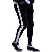 ingrosso striscia sottile-Jeans neri Uomo Pantaloni a righe casual Biker Jeans strappati strappati Pantaloni in denim slim fit sfilacciati Pantaloni Abbigliamento Pantaloni a matita