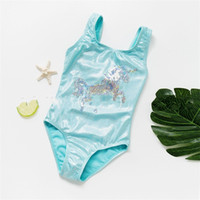 Wholesale hot baby suit resale online - Girl Conjoined Swimming Suit Blue Unicorn Baby Lovely Triangle Swimwear Cute Soft Comfortable Simple Fashion Swimsuit Hot Sale ymD1