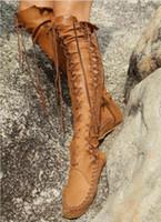 largos sexy con cordones botas al por mayor-Altas botas del muslo mujeres punky de la PU de encaje hasta zapatos de las señoras de cuero cruzada atractiva atada sobre las botas largas de la rodilla más tamaño Zapatos de Mujer