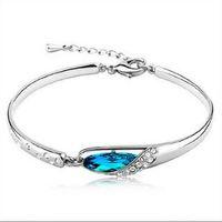 pulseiras de safira azuis venda por atacado-Luxo Sapphire Pulseiras Jóias New Style Encantos Azul Áustria Pulseira de Diamante Pulseira de Prata Esterlina Sapatos de Vidro de Jóias de Mão CNY1158