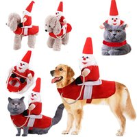 Wholesale play wedding dress resale online - Christmas Pet Santa Claus Dog Costumes Puppy Cat Party Dressing Up Funny Clothes Winter Role Play Clothes Disfraz Para new hot