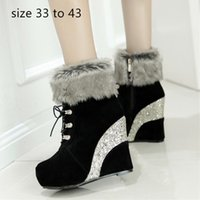 Wholesale brown lace up wedge boots resale online - fashion luxury designer women shoes woman ankle booties sequined platform wedge high heel fur boots size to