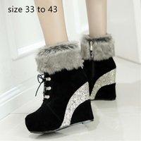 kadınlar 33 topuklu toptan satış-moda lüks tasarımcı bayan ayakkabı kadın ayak bileği patik payetli platformu kama yüksek topuk kürk çizmeler boyutu 33-42 43
