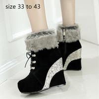 frauen größe 33 fersen groihandel-Mode Luxus-Designer-Frauen Schuhe Frau Ankle Booties sequined Plattform-Keil-Absatz Pelzstiefel Größe 33 bis 42 43