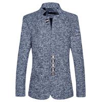 куртка с воротником оптовых-Прямой мужской досуг больших размеров воротник китайская туника пиджак