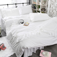 Wholesale housing full case for sale - Group buy Princess House Cotton Bedding Set Lotus Leaf Embroidered Lace Quilt Case