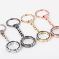 Wholesale stainless steel jewelry components for sale - Group buy New Keychain Austrian Crystal Living Memory Floating Heart Locket Pendant DIY Keychain Stainless Steel Charms Jewelry Findings Components
