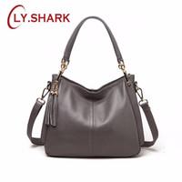 Wholesale first lady handbags resale online - LY SHARK Ladies Fashion New First Layer Shoulder Bag Tassel Simple Wild Leather Shoulder Bag Handbag Leather Handbag