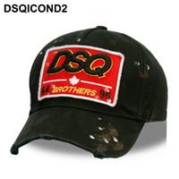ingrosso disegno del logo di baseball-DSQICOND2 all'ingrosso Cotton Baseball Caps DSQ Lettere Uomini Donne Cap di alta qualità cliente di disegno di DSQ Logo Black Hat Cap Dad Cappelli