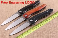 Wholesale 5cr15mov knife for sale - Group buy MOQ Free Personalized LOGO Wood Handle Flipper Tactical Folding Knife Gift Assisted Opening CR15MOV Satin Blade Pocket Knives P294F Y