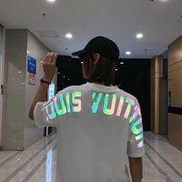 Wholesale cartoon crew necks resale online - Summer Fashion Designer Brand Cartoon Reflective Letters Printing Short sleeved Men s Clothing Youth T shirt For Men Tshirts M XXXL