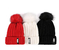 60a3a686713 winter thick fleece lined warm hat fahion B letter knit wool beanie hats  fur pom poms ball caps outdoor snow ski ride beanie