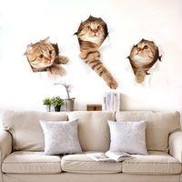 pet shop gatos venda por atacado-Simulação 3D Gato Adesivos de Parede Animais Bonitos Kid Room Adesivos DIY Etiqueta Sala de estar Decoração de Casa 3 Gatos Pet Shop Decoração