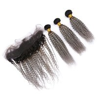 Wholesale curly virgin hair bundles tone for sale - Group buy Dark Root Two Tone Grey Lace Frontal With Bundles Afro Kinky Curly Ombre Hair Weave Bundles With x4 Lace Frontal Closure Virgin Hair