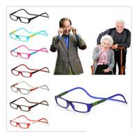 ingrosso occhiali da lettura appesi-Occhiali da lettura magnetici unisex Uomo Donna Colorati Collo appeso regolabile Occhiali da presbite frontali magnetici 8 colori ZZA212