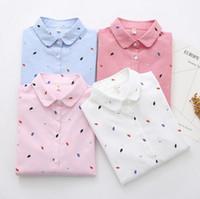 frauen lange tops weiße baumwolle großhandel-2019 Frühling Herbst Damen Blusen Langarm Blatt gedruckt lose Baumwolle T-Shirt Frauen Baumwolle weiße Oberteile