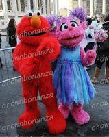 trajes carnaval tema festa venda por atacado-Rua Sésamo Elmo Traje Da Mascote Anime Tema Carnaval do Dia Das Bruxas Dos Desenhos Animados Abby Menina Traje Personagem Terno de Festa de Aniversário de Natal