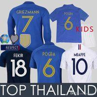 26 kits achat en gros de-2019 France Maillot de Foot France Enfant MBAPPE GRIEZMANN POGBA Manche Longue VARANE PAVARD GIROUD 100 Anniversary France Kids Football Shirt 100e Anniversaire Français