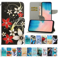 Discount colorful rose painting Newest Colorful Painting Leather Wallet Phone Case for Samsung Galaxy S20 Ultra S10 Plus iPhone 11 Pro Max Flip Stand Ptotective Cover