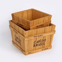 sepet saklama kapları toptan satış-Retro ahşap kutu Saksı bitki konteyner Masaüstü ajanda Ev aracı depolama sepeti bonsai pot Küçük nesne saklama kutusu