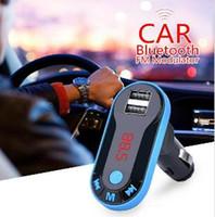 leitor de áudio em sequência venda por atacado-2019 carro Bluetooth FM Modulator mp3 player de música mãos-livres chamando dual cartão USB